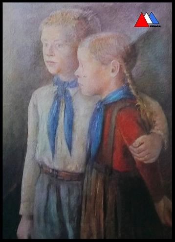 Poster afbeelding van een olieschilderij ( Otto Nagel 1949 ) collectie auteur.
