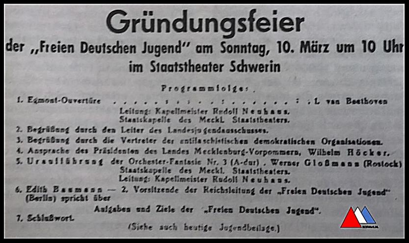 Grondlegging programmablad kopie  FDJ feest maart (1946) collectie auteur.