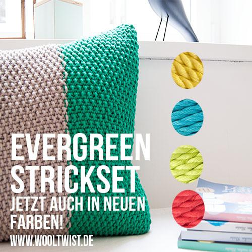Coole neue Farben für Kissen Strickset Evergreen von WOOLTWIST!