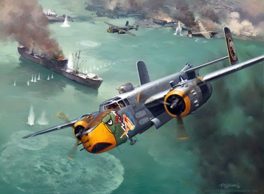 """courtesy of the author and owner of the work Roy Grinnell : B-25-J  """"Lady Lil """" 498 th Bombers Group """"Falcons"""" - Raid on the China Coast"""