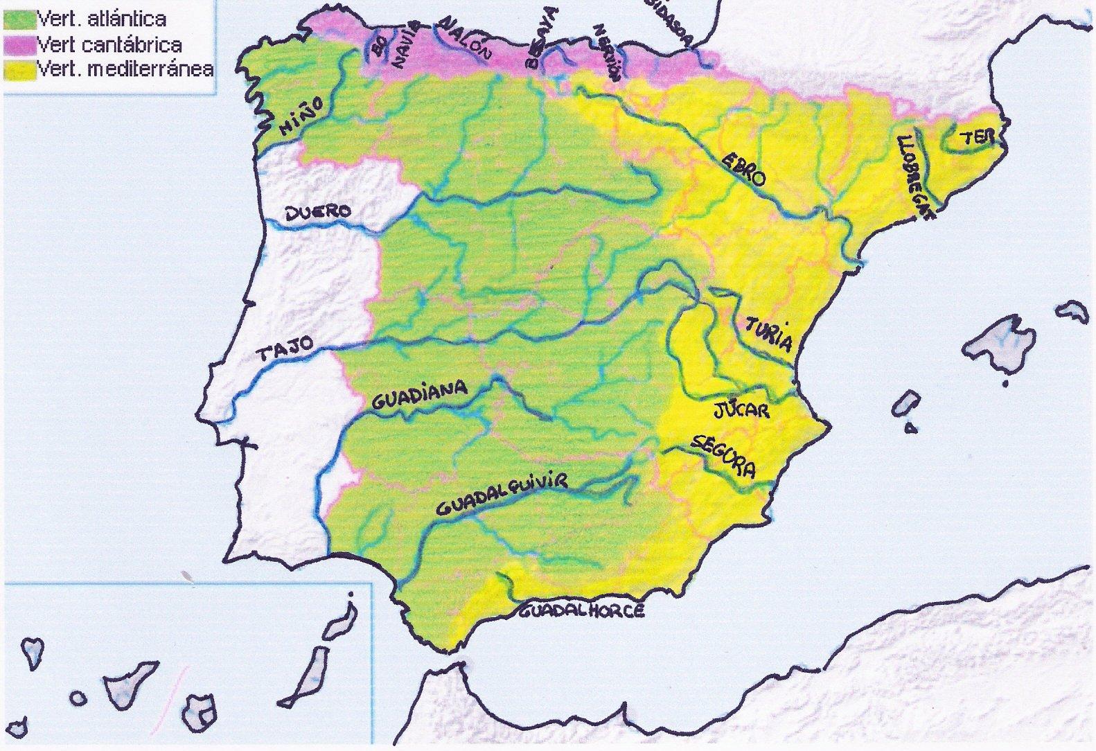 Vertientes Mapa Hidrografico De España.Tema 2 La Hidrografia De Espana Pagina Web De