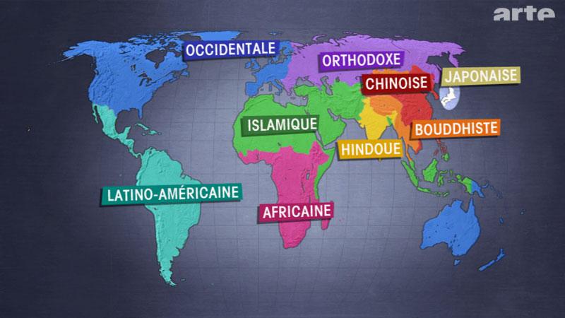 """Carte tirée de l'émission d'ARTE """"Le Dessous des cartes"""" représentant les civilisations selon Samuel Huntington"""