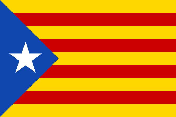 Drapeau des indépendantistes catalans, souvent arboré lors des manifestations.
