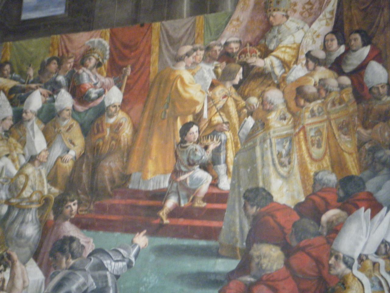 Peinture de Raphaël représentant le couronnement de Charlemagne - Musée du Vatican