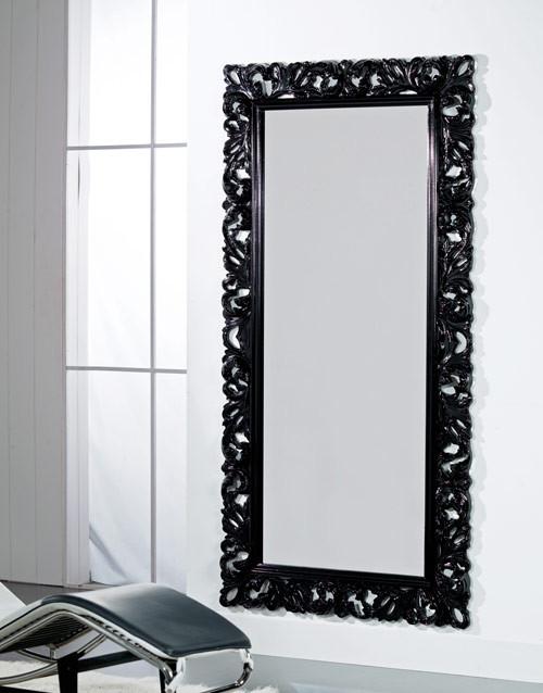 Articolo 52176 - Specchiera intagliata nera lucida (Larghezza cm.107, Altezza cm.207)