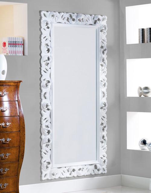 Articolo 52175 - Specchiera intagliata bianca lucida (Larghezza cm.107, Altezza cm.207)