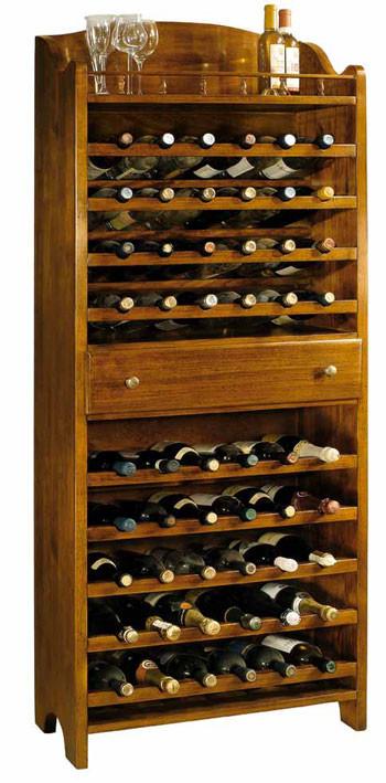 Articolo 51215 - Mobile porta bottiglie, 1 cassetto (contiene fino a 54 bottiglie) - (Larghezza cm.70, Profondità cm.30, Altezza cm.174)