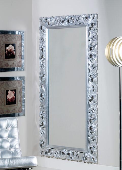 Articolo 52174 - Specchiera intagliata foglia argento (Larghezza cm.107, Altezza cm.207)