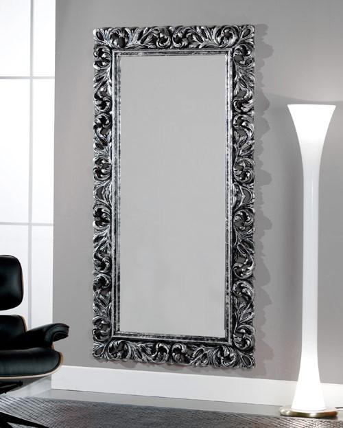 Articolo 52173 - Specchiera intagliata argento-nero invecchiato (Larghezza cm.107, Altezza cm.207)