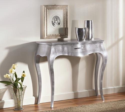 Articolo 51448 - Consolle 1 cassetto, laccatura foglia argento (Larghezza cm.93, Profondità cm.38, Altezza cm.80)