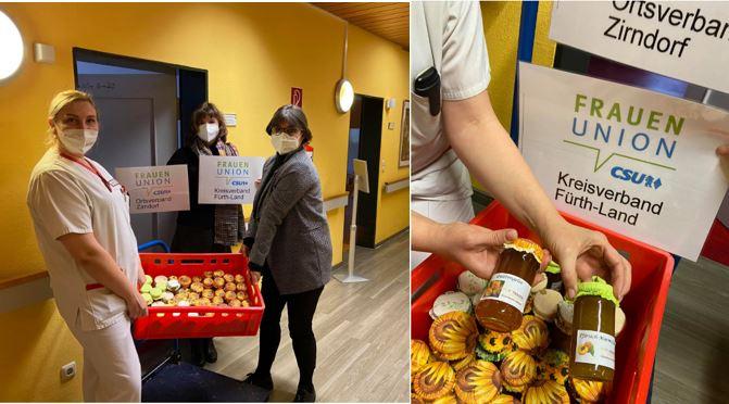 Frauen-Union Kreisverband Fürth-Land:  Wir klatschen nicht nur! Unsere Weihnachtsgeschenke sind bei den Pflegekräften angekommen!