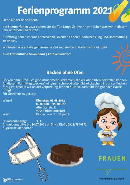 Ferienprogramm der Frauen Union Seukendorf - Backen ohne Ofen am 03.08.2021