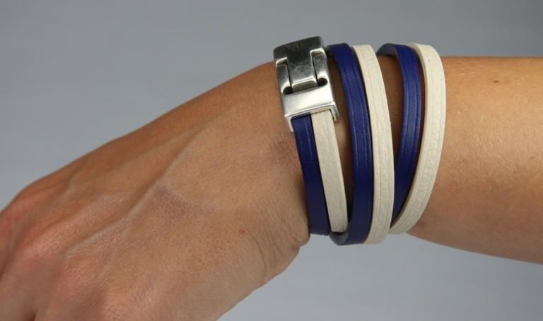 Bracelet cuir beige et bleu