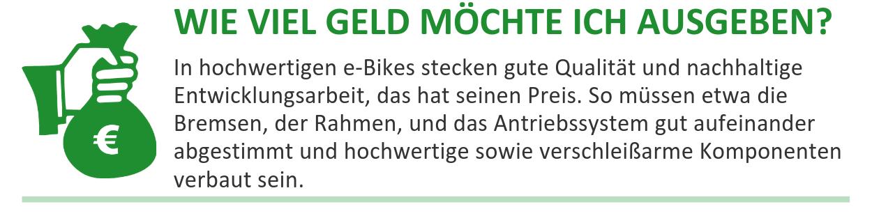 Fragen vor dem e-Bike Kauf: Wie viel Geld möchte ich ausgeben?