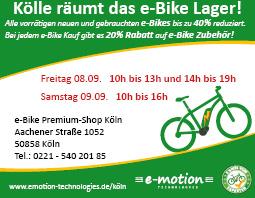 e-motion e-Bike Premium Shop Köln Ausverkauf mit bis zu 40% Rabatt auf e-Bikes, Pedelecs und Speed-Pedelecs