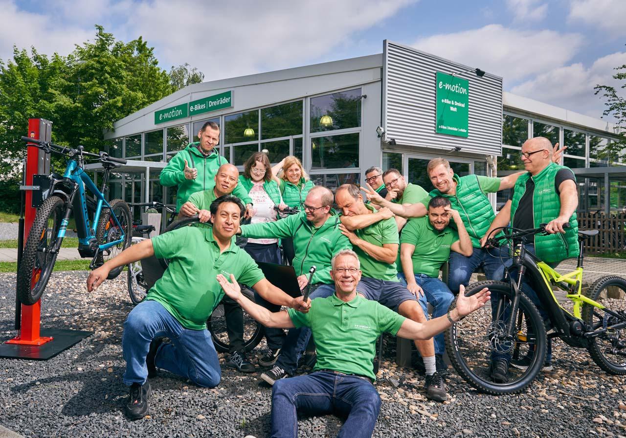 Unser Team in der e-motion e-Bike Welt Düsseldorf - Wir freuen uns auf Sie!