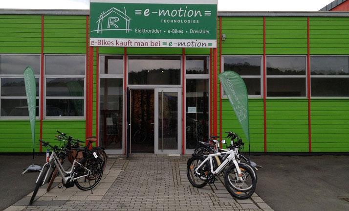 In der e-motion e-Bike Welt in Würzburg