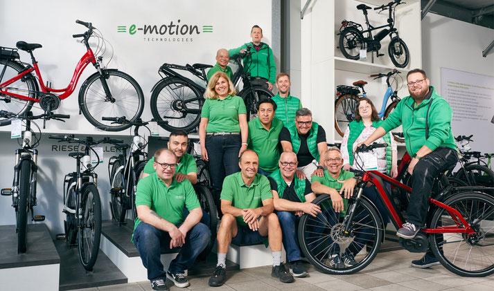 Das team der e-motion e-Bike Welt in Düsseldorf in der Nähe von Meerbusch