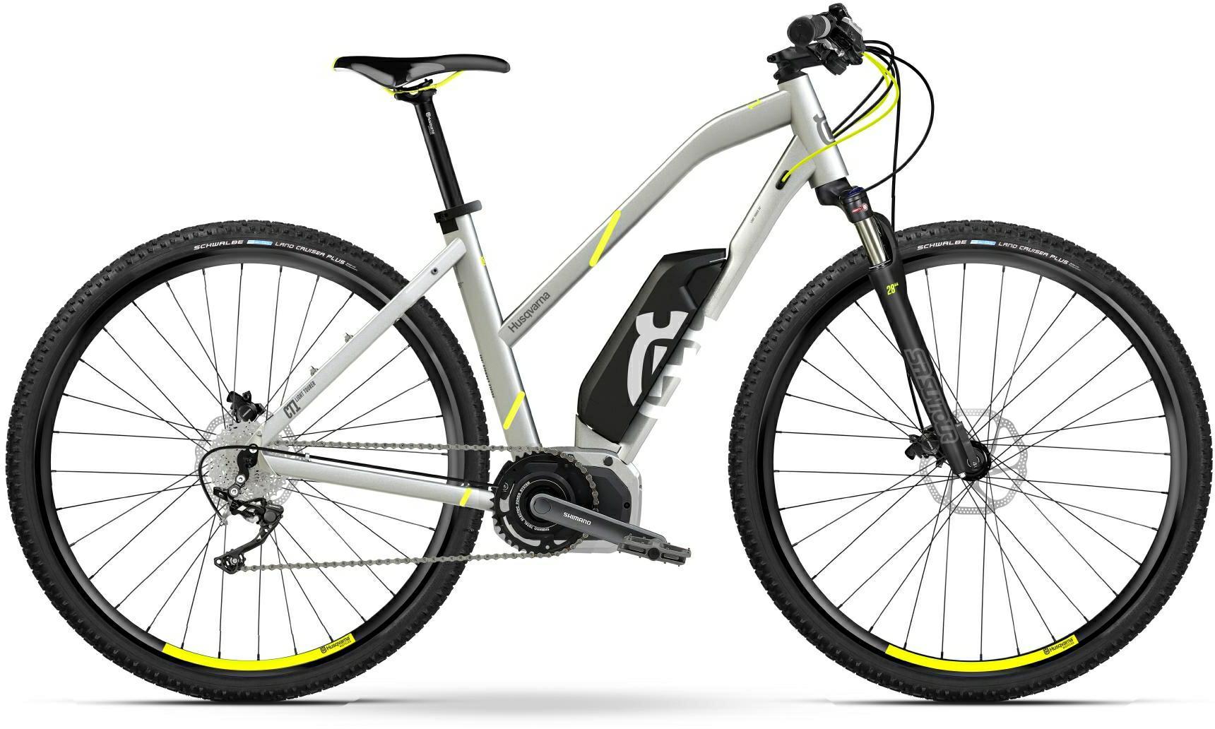 Husqvarna Cross Tourer CT1 e-Mountainbike, MTB Pedelec 2018 silber/gelb Trapezrahmen