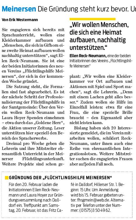 Gifhorner Rundschau 12.2.2016