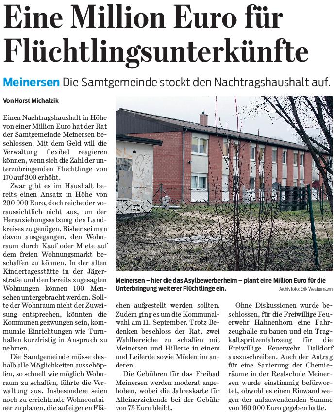 Gifhorner Rundschau vom 12.3.2016
