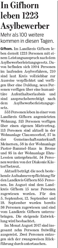Gifhorner Rundschau vom 8.9.2017