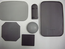 パンチング材を様々な形状にプレス加工したのち塗装処理