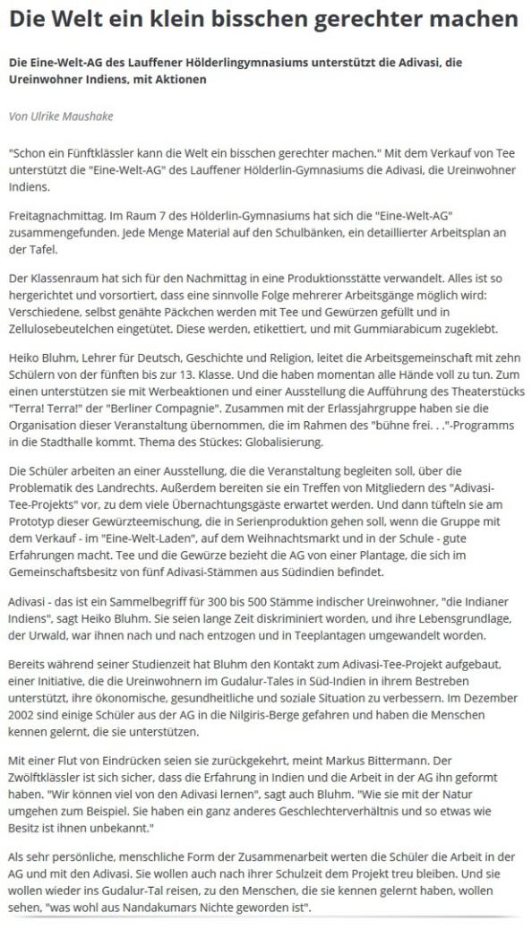 Presse - Eine-Welt-AG Lauffen a.N.