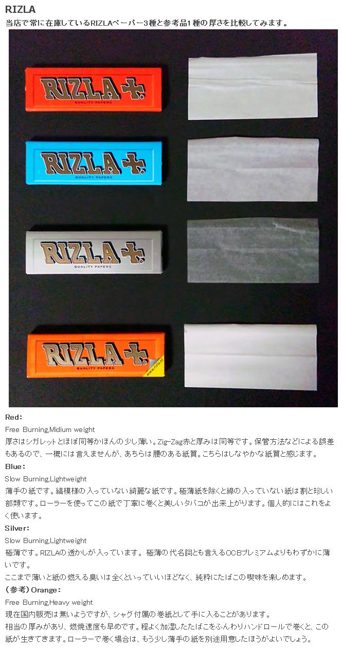 手巻きたばこ 巻紙の比較 RIZLA編