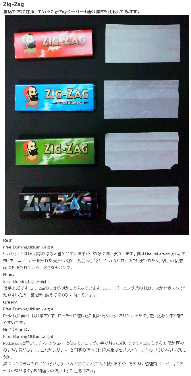 手巻きたばこ 巻紙の比較 ZIGZAG編