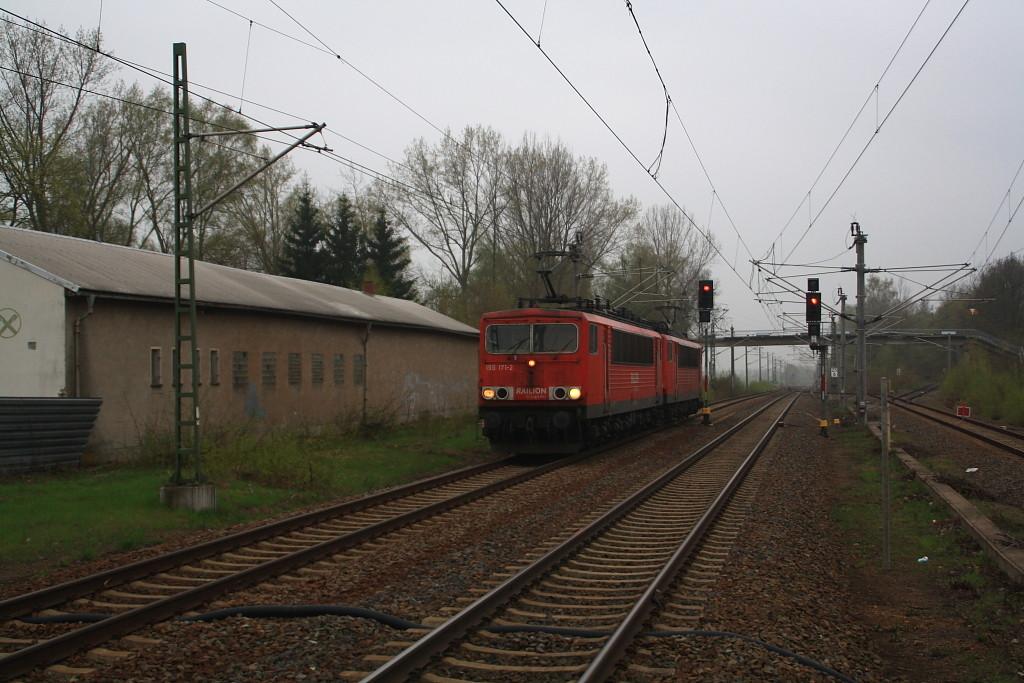 155 171 und 155 123 als Lokzug von Freiberg nach Dresden