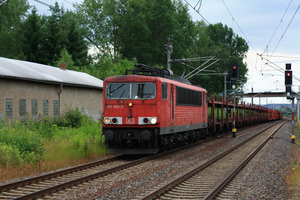 155 083 mit Autoleerzug in Klingnberg-Colmnitz