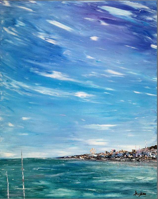tableau-paysage-ocean-ronce les bains-peinture-marine-artiste-peintre-royan-audrey-chal
