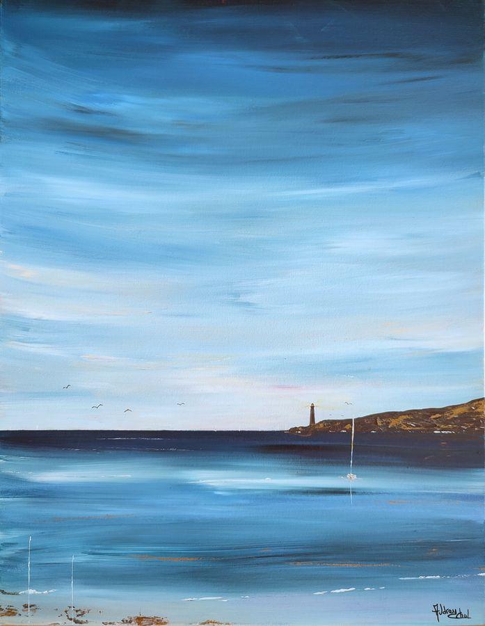 tableau-paysage-ocean-bleu-phare-Audrey-chal-artiste-peintre-francaise-charente-maritime-saint-georges-de-didonne-charente-maritime