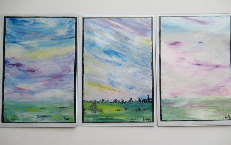 carte aimantée, peinture paysage pastel, campagne peinture relaxante et decorative