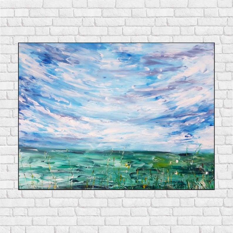 tableau-moderne-abstrait-vert-bleu-campagne-floral-royan-audrey-chal-artiste-peintre-française