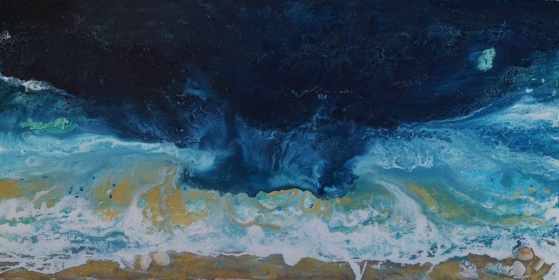 grand tableau panoramique ocean,paysage marin, grand tableau bleu fonce