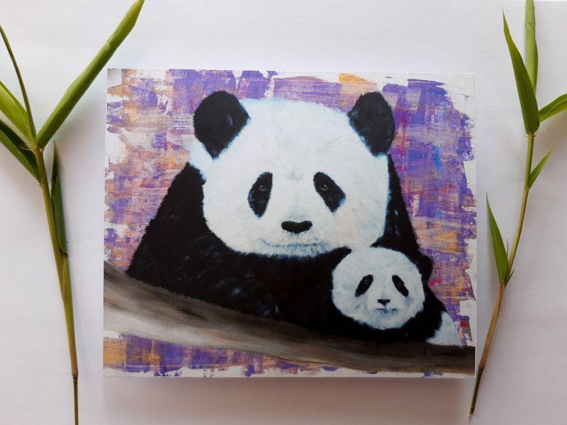 carte-postale-panda-bebe-panda-carte-rose-violet-marque-page-signet-artiste-peintre-audrey-chal-royan
