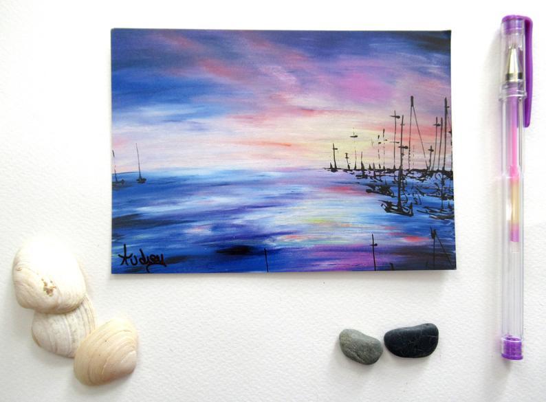 carte-postale-art-ocean-voilier-artiste-peintre-royan-port