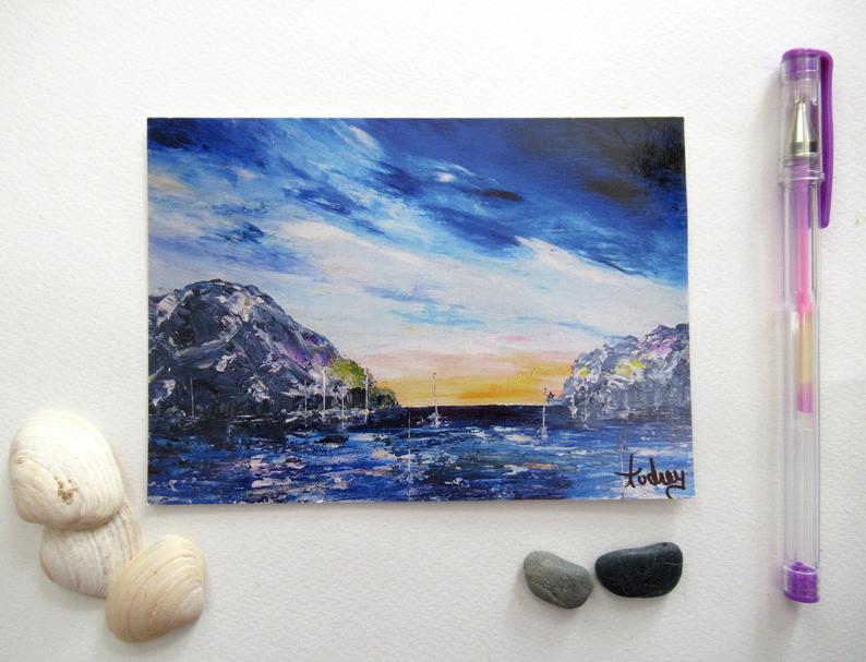 carte-postal-art-orage-ocean-artiste-peintre-audrey-chal-royan-peinture-bleu
