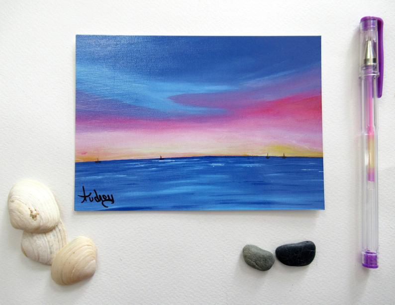 carte-postal-art-coucher-de-soleil-ocean-peinture-bleu-rouge-artiste-peintre-audrey-chal-royan