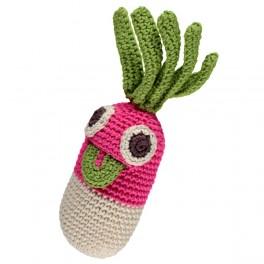 Kinderrassel - Gary das Radieschen ist aus 100% ökologischer Baumwolle und für Kinder ab dem Babyalter geeignet