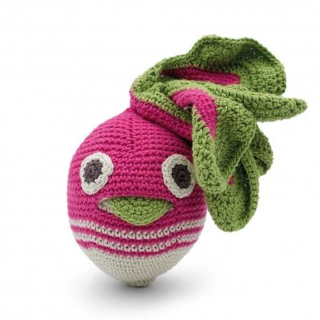 Kinderrassel - Charlotte die Karotte - ist aus 100% ökologischer Baumwolle und für Kinder ab dem Babyalter geeignet, Myum Veggy Toys