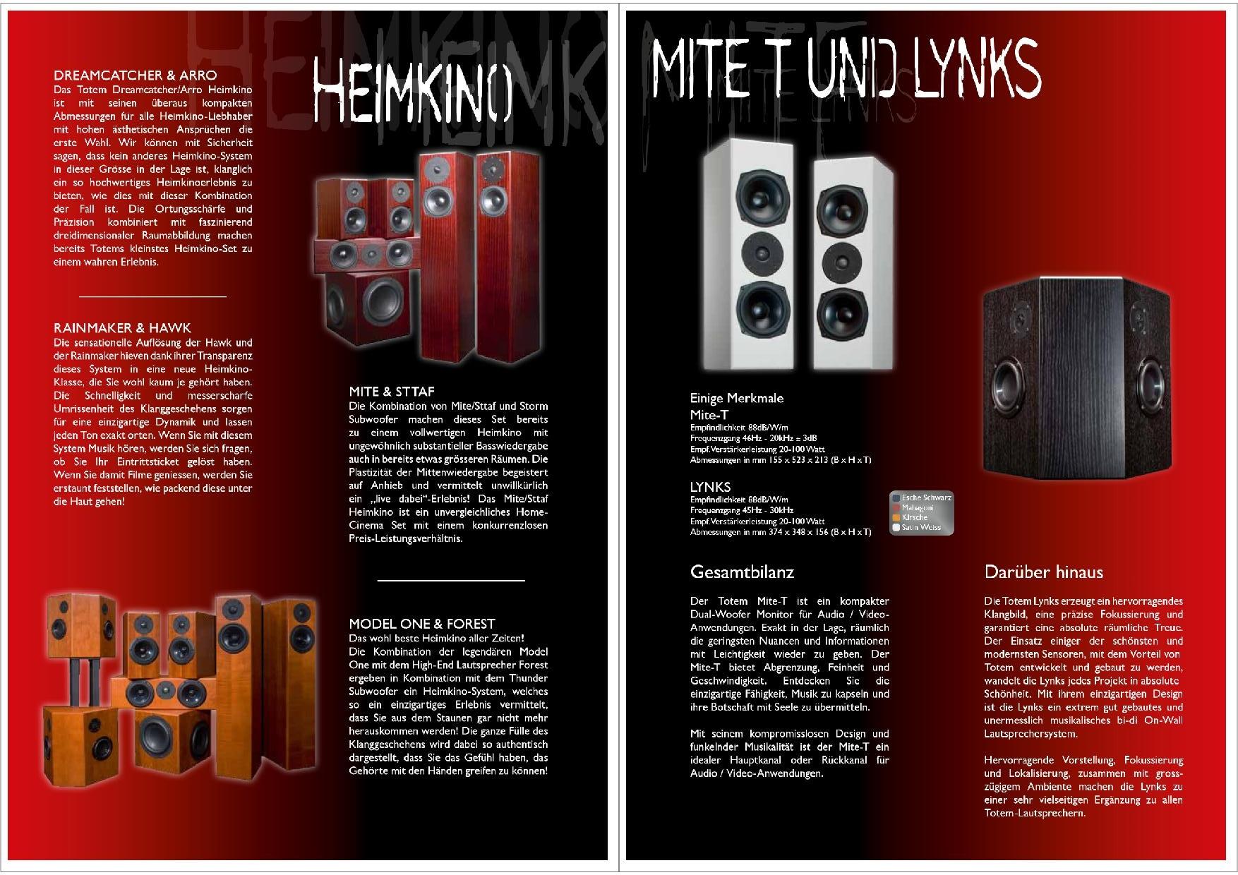Totem Acoustic Katalog S. 15+16
