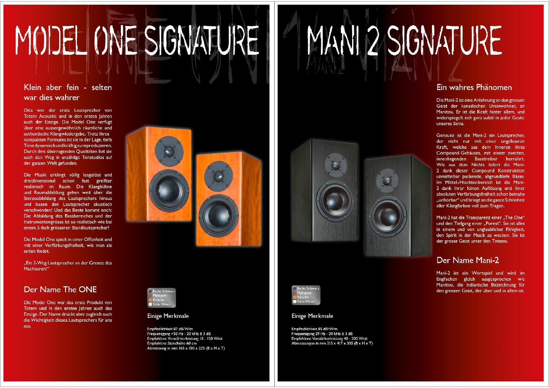 Totem Acoustic Katalog S. 7+8
