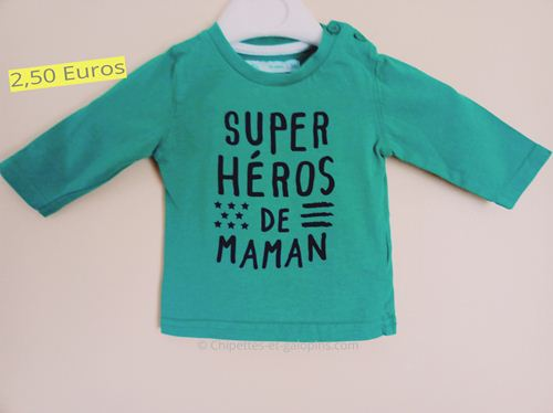 vetements bébé occasion. T-shirt manches longues vert 3 mois