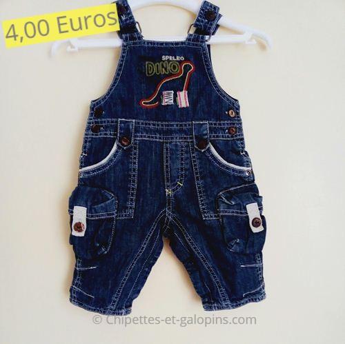 """Habits bébés pas cher. Salopette en jean """"Dino"""" Sucre d'orge 3 mois"""