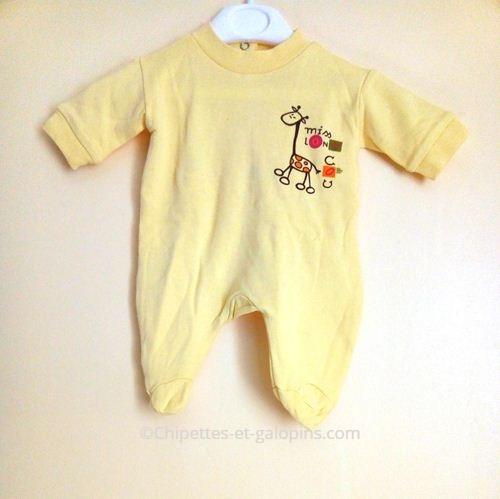 vetements bébé occasion. Vêtement pas cher naissance. Pyjama jaune naissance fille à petit prix L'enfant Do