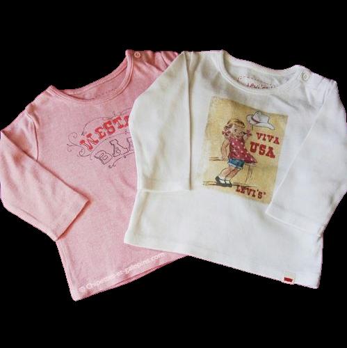 vetements bébé occasion. Vetements bébé fille pas chers. Lot de 2 T-shirts à manches longues Levi's pour bébé fille de 9 mois. Théme western.