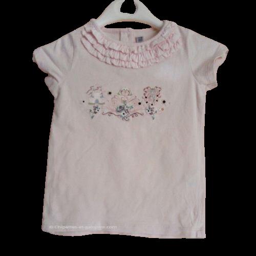 vetements occasion bébé. vetements bébé fille pas chers. T-shirt Sergent Major rose claire avec motifs princesse pour fille de 2 ans